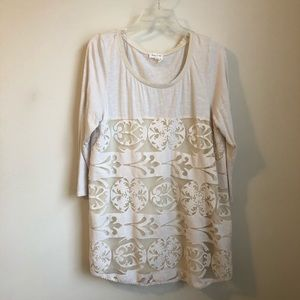 Anthropologie • Meadow Rue beige mesh tunic top